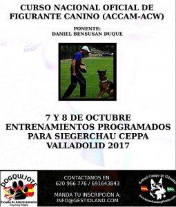 Curso Nacional de Figurante Canino ACCAM - Alianz 2017 @ Valladolid