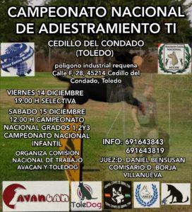 Campeonato Nacional Adiestramiento TI Cedillo del Condado -Toledo 2018 @ Poligono Industrial Requena